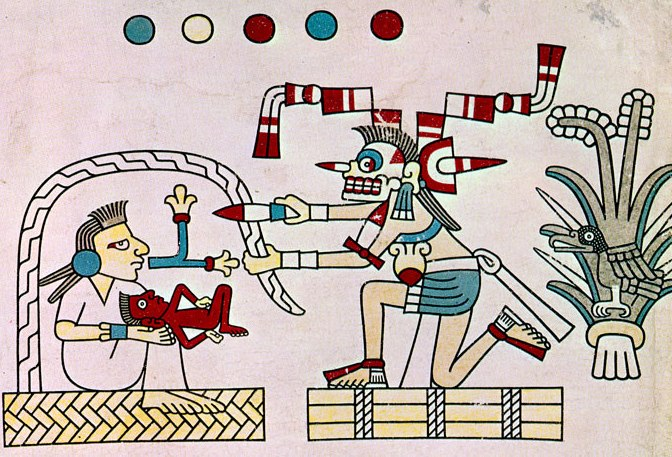 2. Göbek kordonunu kesen Ölüm Codex Laudianus Aztekler 678