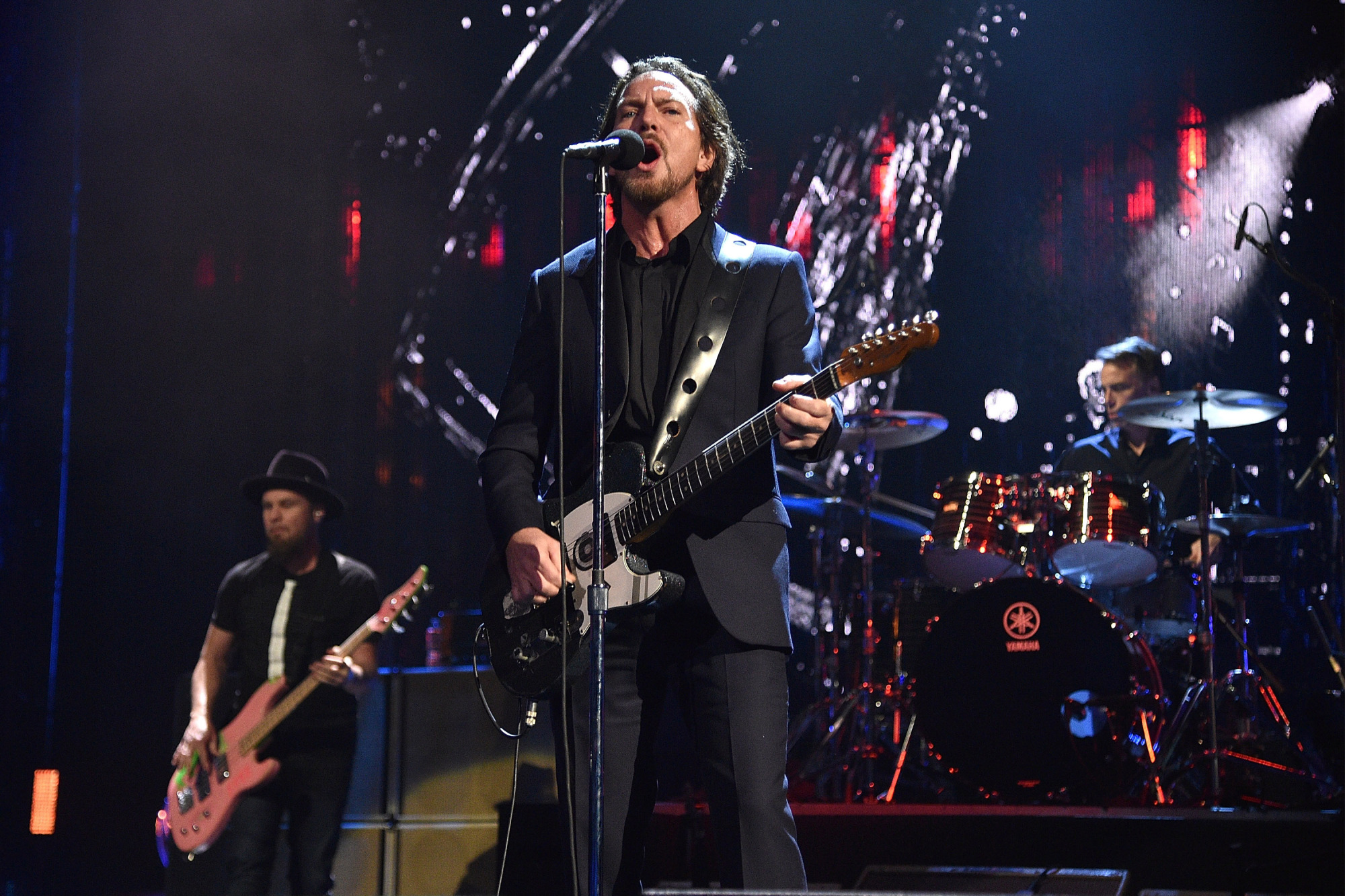 NEW YORK, NY - APRIL 07: Inductees Mike McCready, Matt Cameron, Jeff Ament and Eddie Vedder of Pearl Jam perform onstage during the 32nd Annual Rock & Roll Hall Of Fame Induction Ceremony at Barclays Center on April 7, 2017 in New York City. The broadcast will air on Saturday, April 29, 2017 at 8:00 PM ET/PT on HBO. (Photo by Kevin Mazur/WireImage for Rock and Roll Hall of Fame)